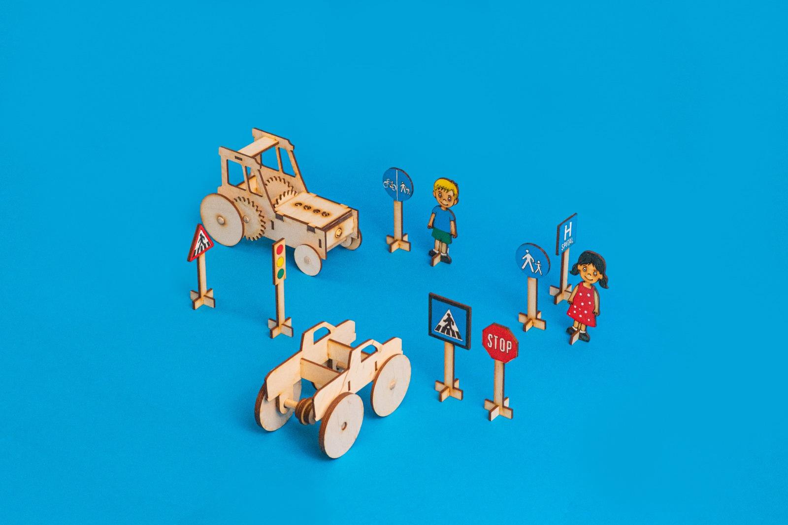 set de educație rutiera din lemn - doti jucarii educative